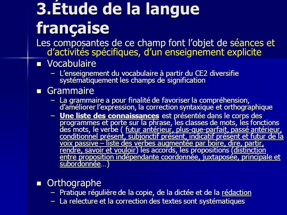 3.Étude de la langue française