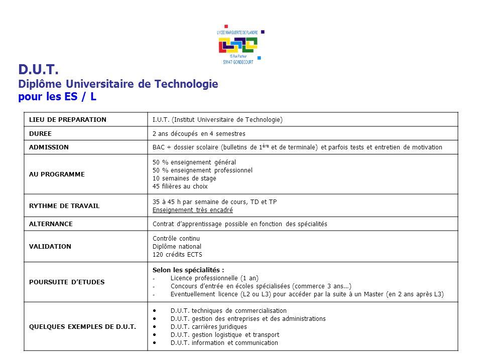 D.U.T. Diplôme Universitaire de Technologie pour les ES / L