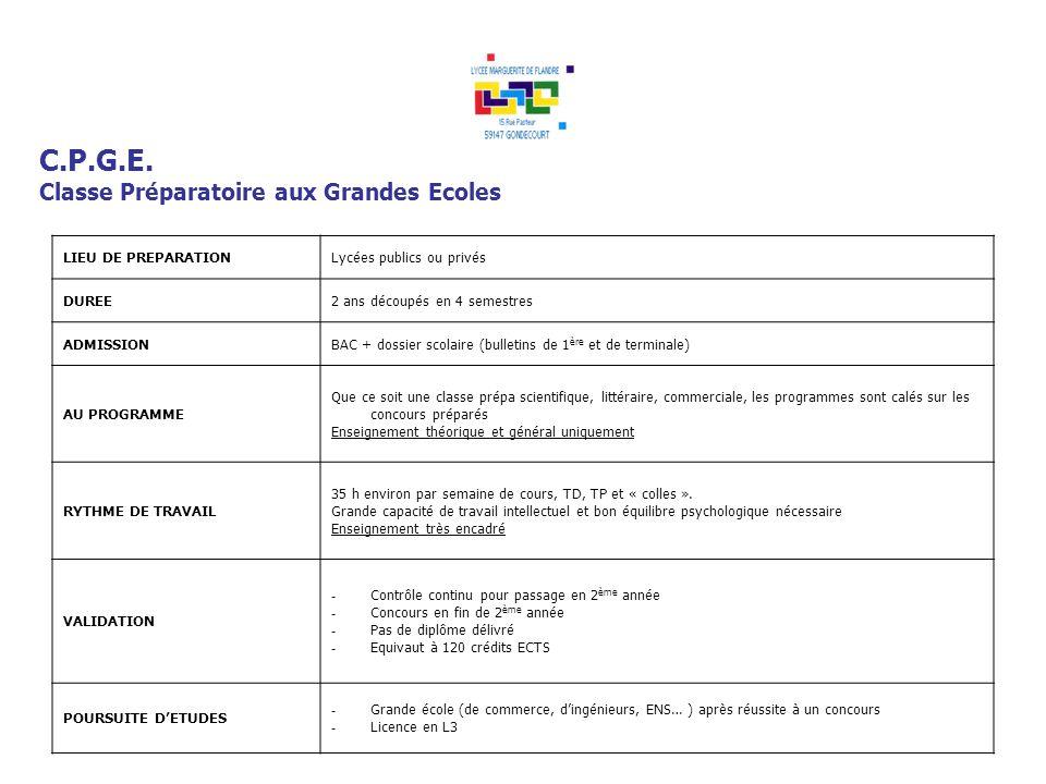 C.P.G.E. Classe Préparatoire aux Grandes Ecoles LIEU DE PREPARATION