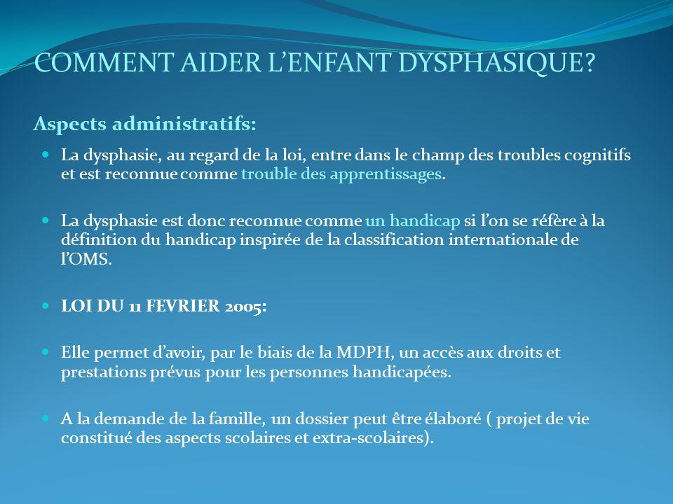 COMMENT AIDER L'ENFANT DYSPHASIQUE Aspects administratifs: