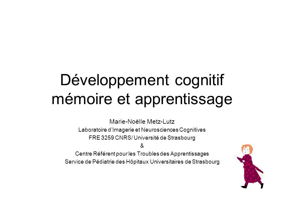 Développement cognitif mémoire et apprentissage