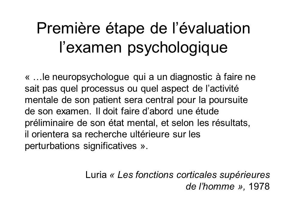 Première étape de l'évaluation l'examen psychologique
