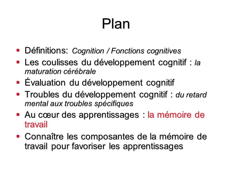 Plan Définitions: Cognition / Fonctions cognitives