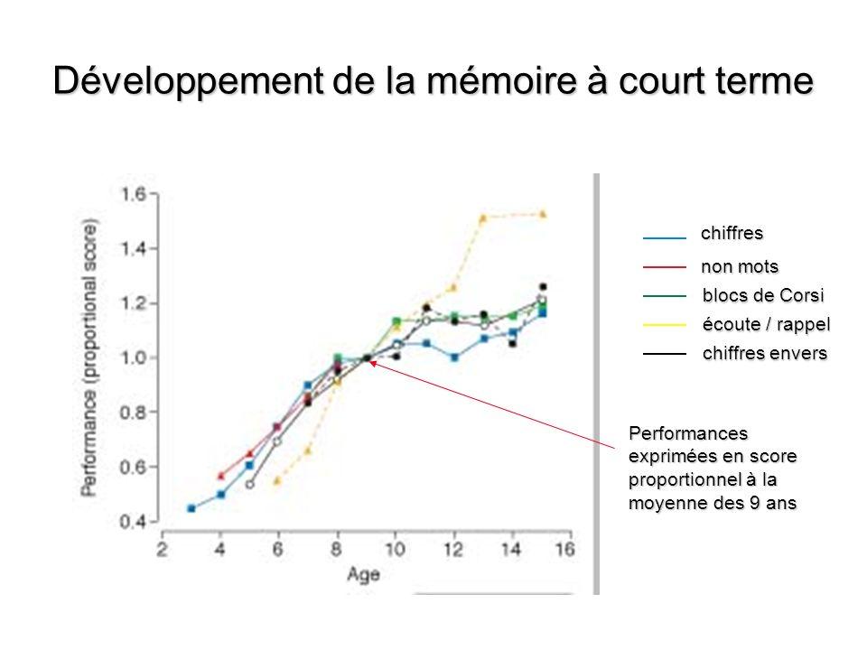 Développement de la mémoire à court terme
