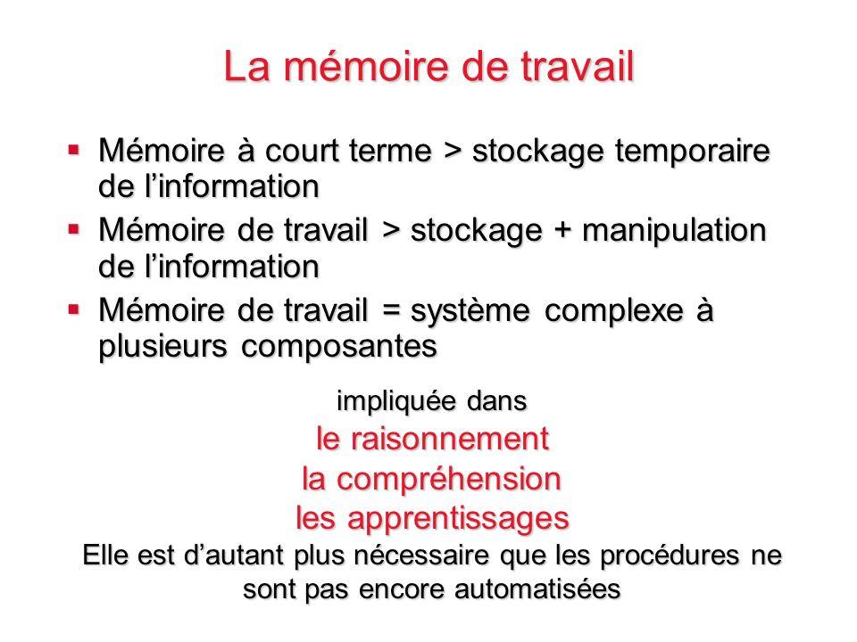 La mémoire de travail Mémoire à court terme > stockage temporaire de l'information. Mémoire de travail > stockage + manipulation de l'information.