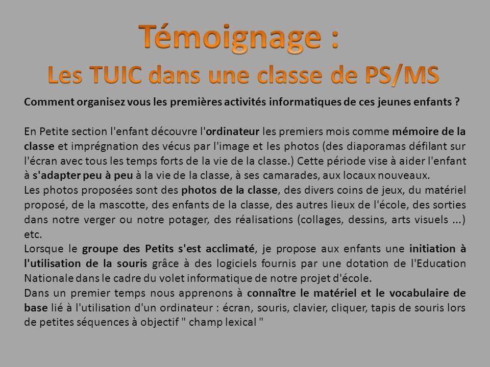 Les TUIC dans une classe de PS/MS