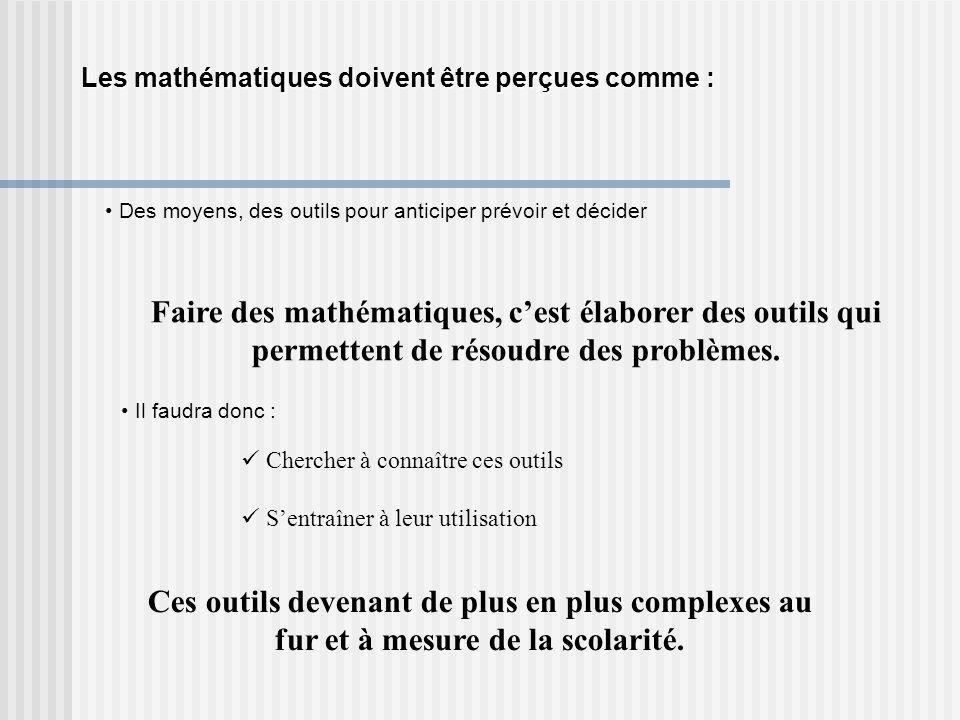Les mathématiques doivent être perçues comme :