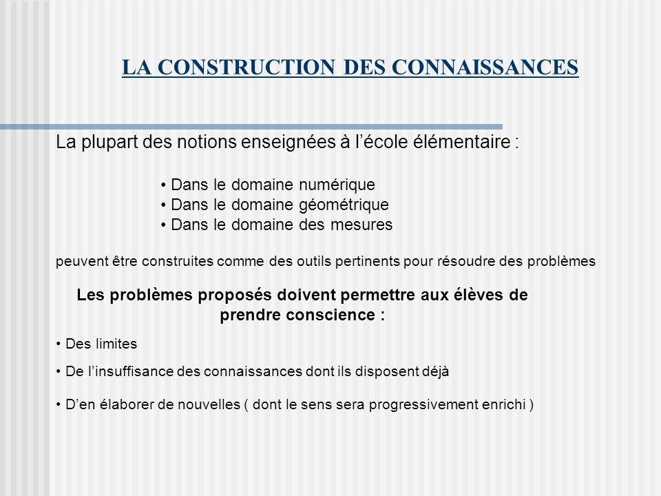 LA CONSTRUCTION DES CONNAISSANCES