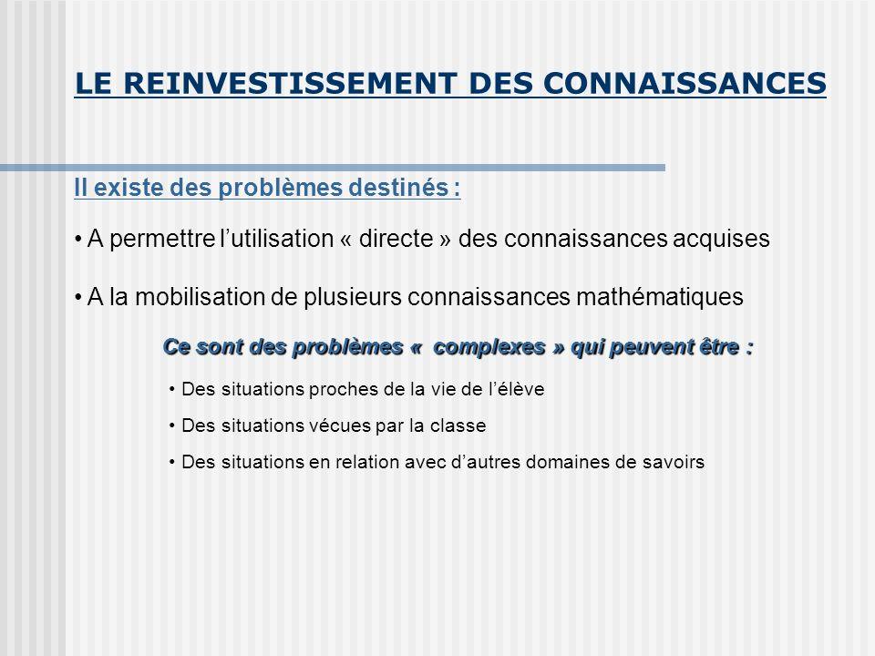 LE REINVESTISSEMENT DES CONNAISSANCES