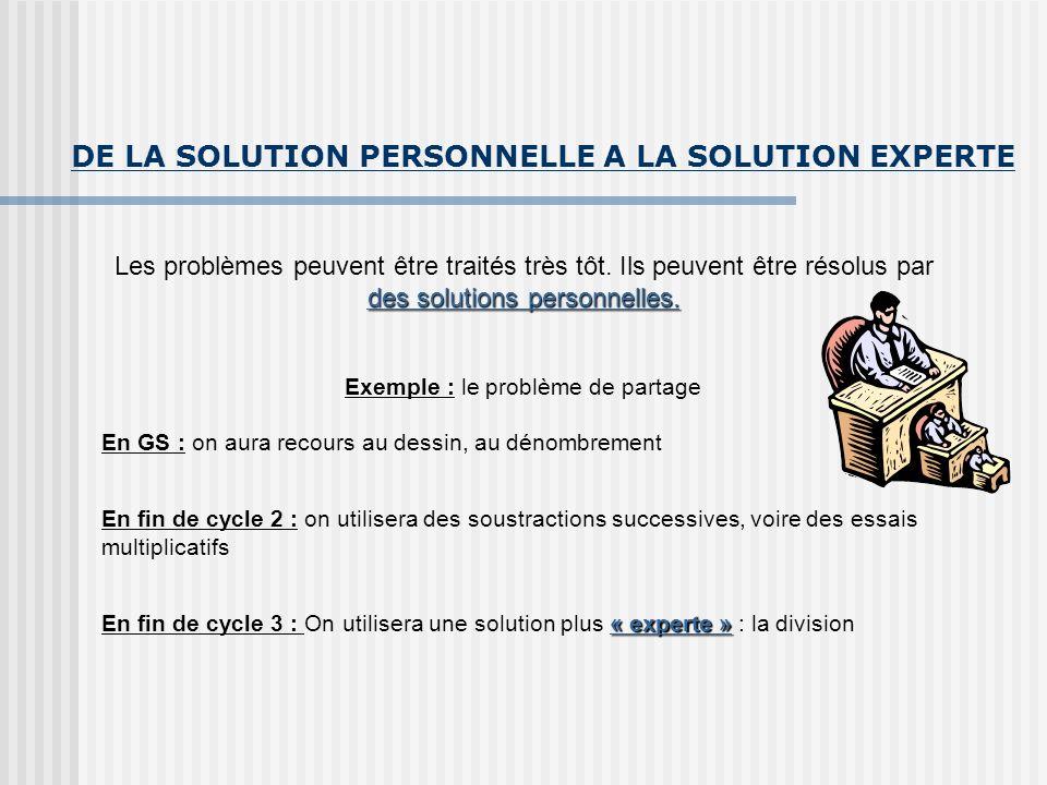 DE LA SOLUTION PERSONNELLE A LA SOLUTION EXPERTE