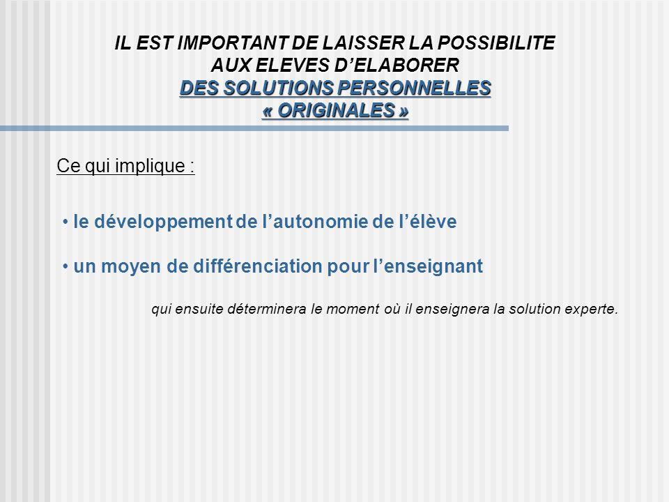 IL EST IMPORTANT DE LAISSER LA POSSIBILITE AUX ELEVES D'ELABORER