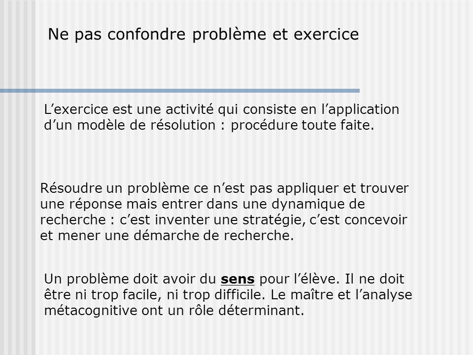 Ne pas confondre problème et exercice