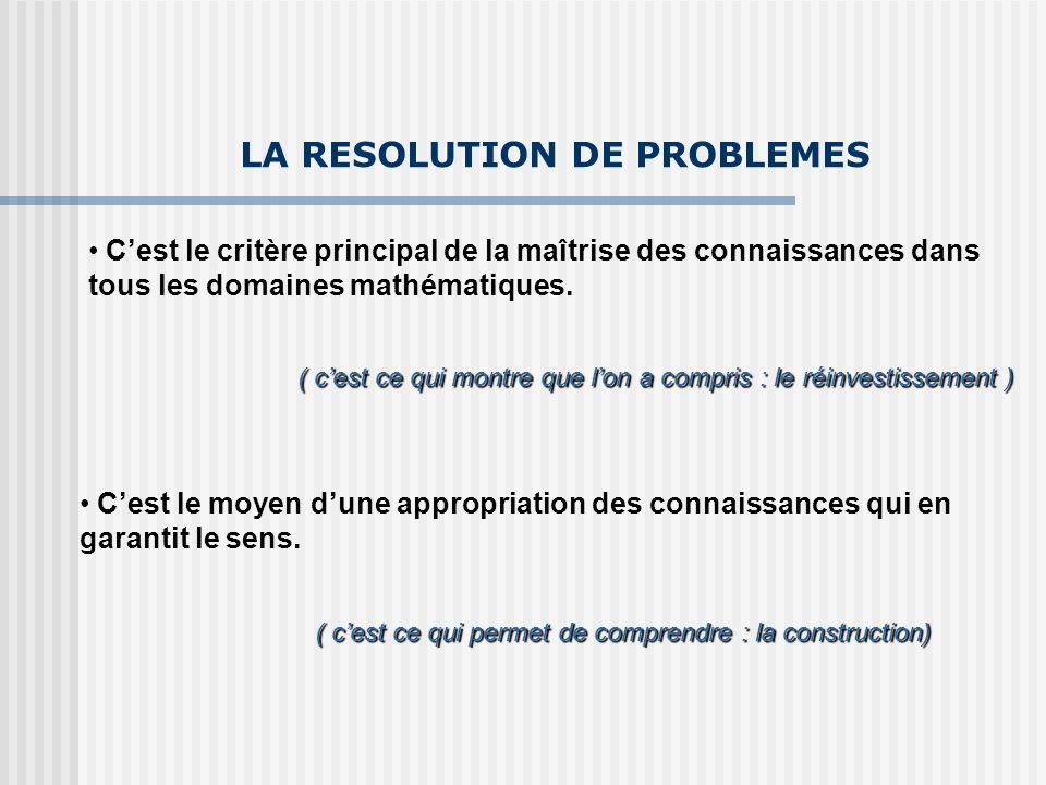 LA RESOLUTION DE PROBLEMES