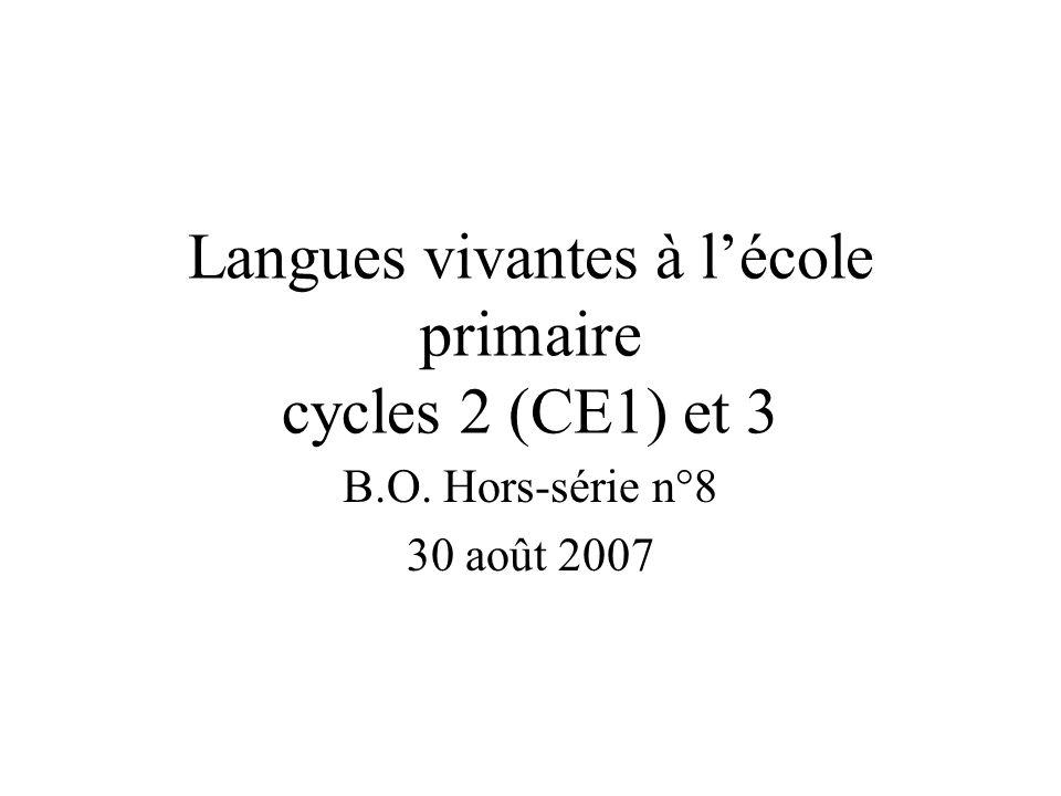 Langues vivantes à l'école primaire cycles 2 (CE1) et 3
