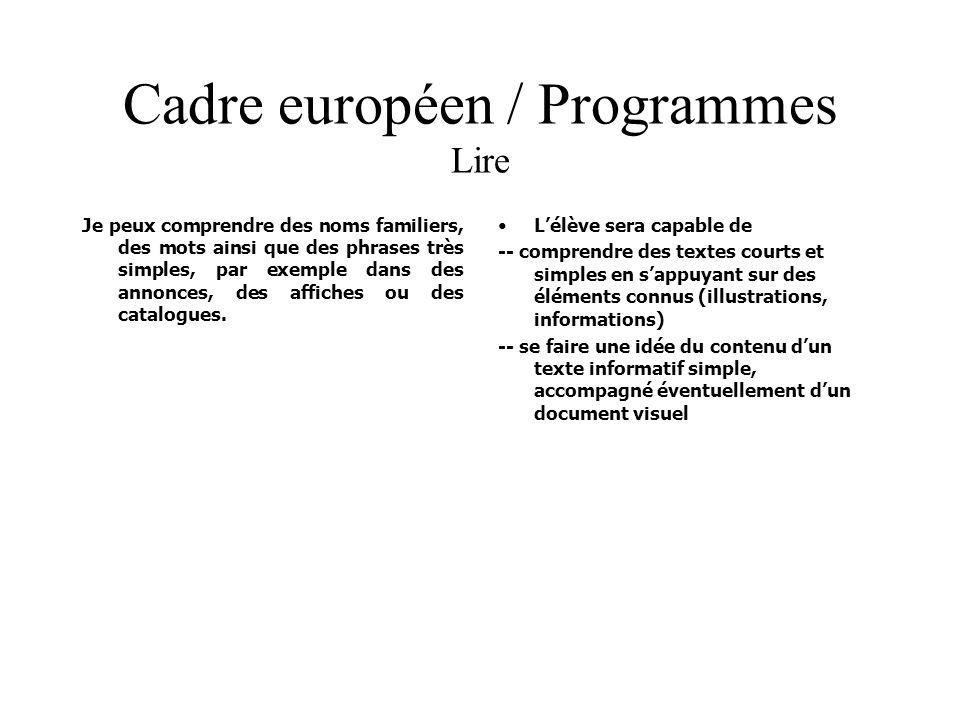Cadre européen / Programmes Lire