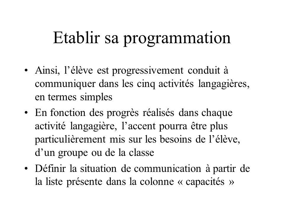 Etablir sa programmation