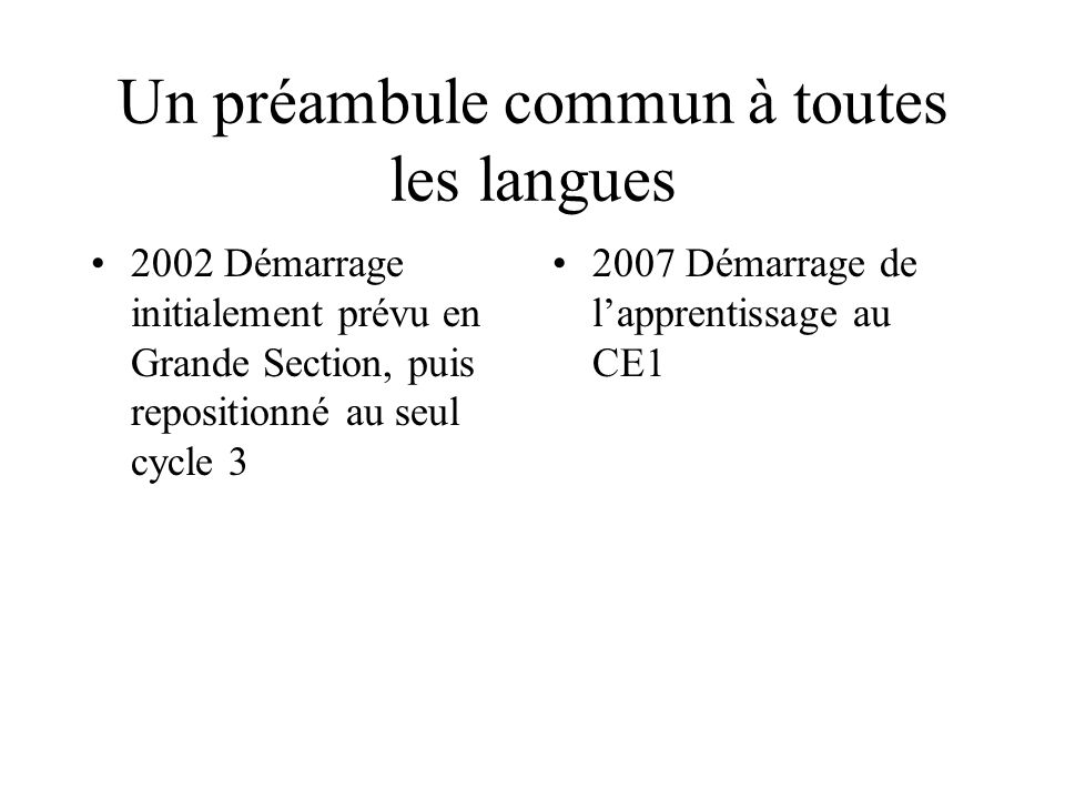 Un préambule commun à toutes les langues