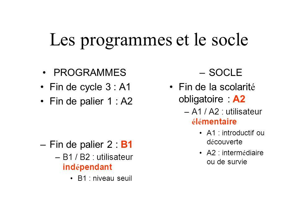 Les programmes et le socle