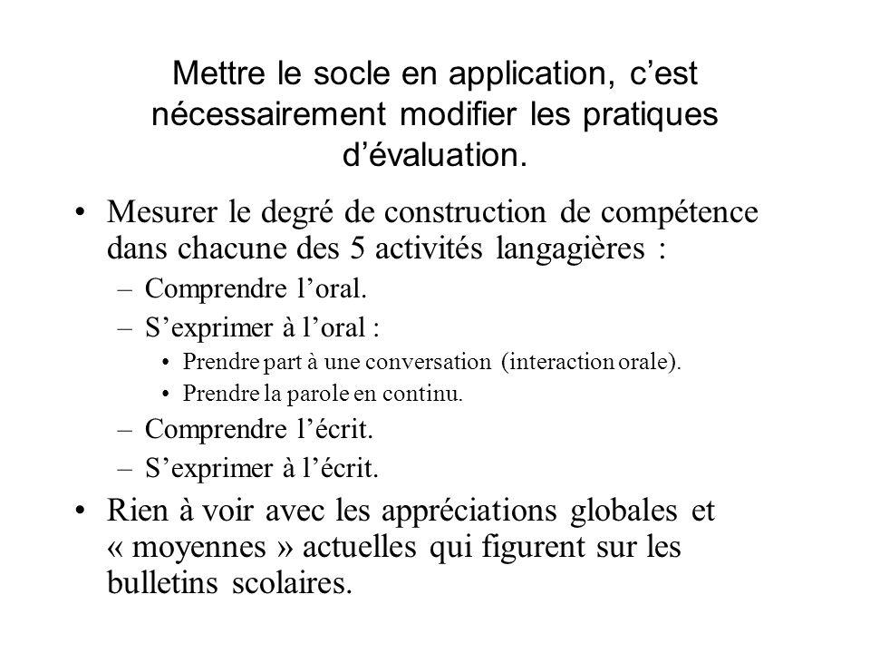 Mettre le socle en application, c'est nécessairement modifier les pratiques d'évaluation.