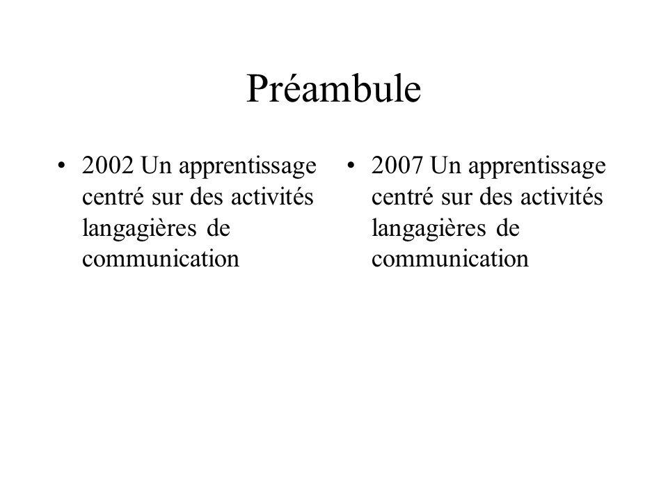 Préambule 2002 Un apprentissage centré sur des activités langagières de communication.