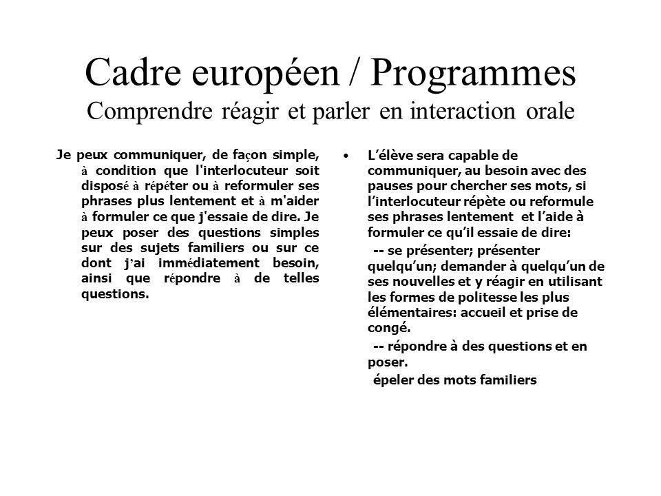 Cadre européen / Programmes Comprendre réagir et parler en interaction orale