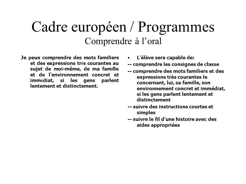 Cadre européen / Programmes Comprendre à l'oral