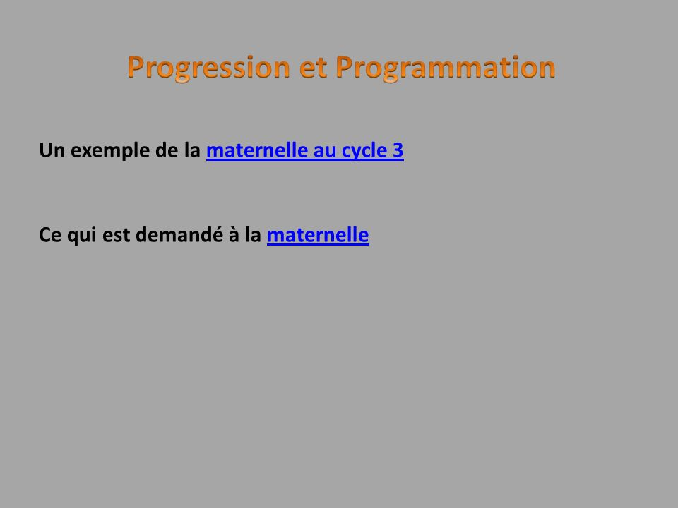 Progression et Programmation