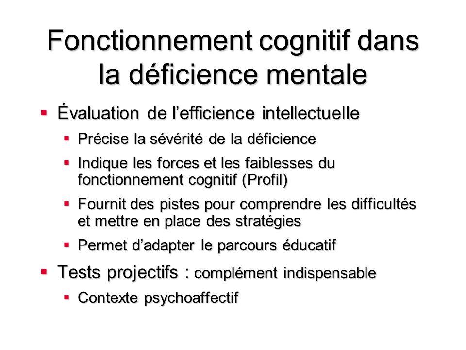 Fonctionnement cognitif dans la déficience mentale