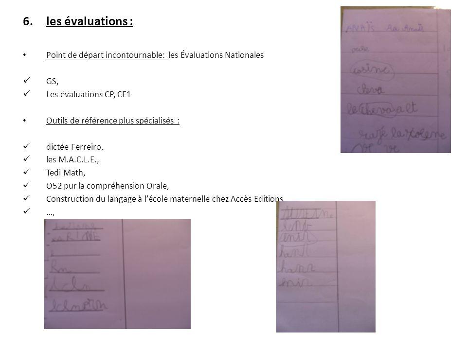 les évaluations : Point de départ incontournable: les Évaluations Nationales. GS, Les évaluations CP, CE1.
