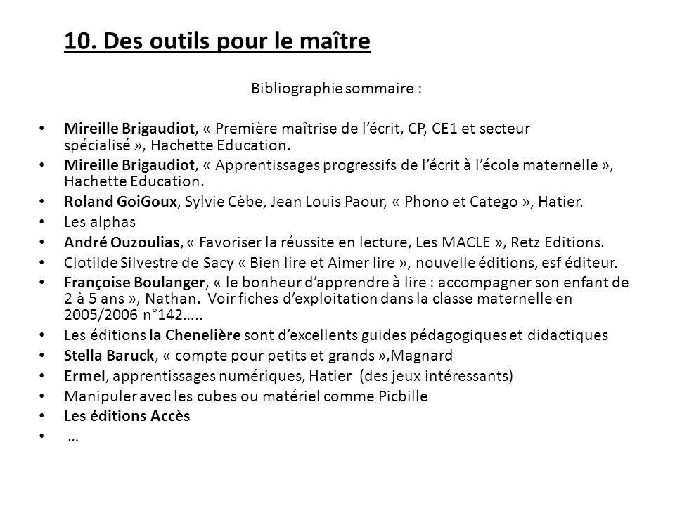 Bibliographie sommaire :