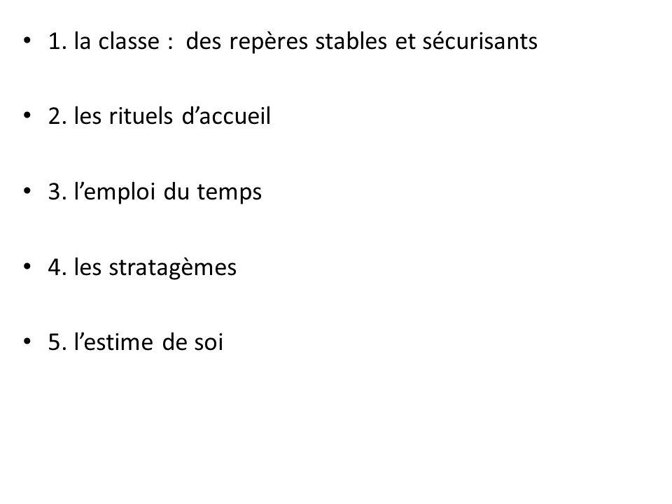 1. la classe : des repères stables et sécurisants