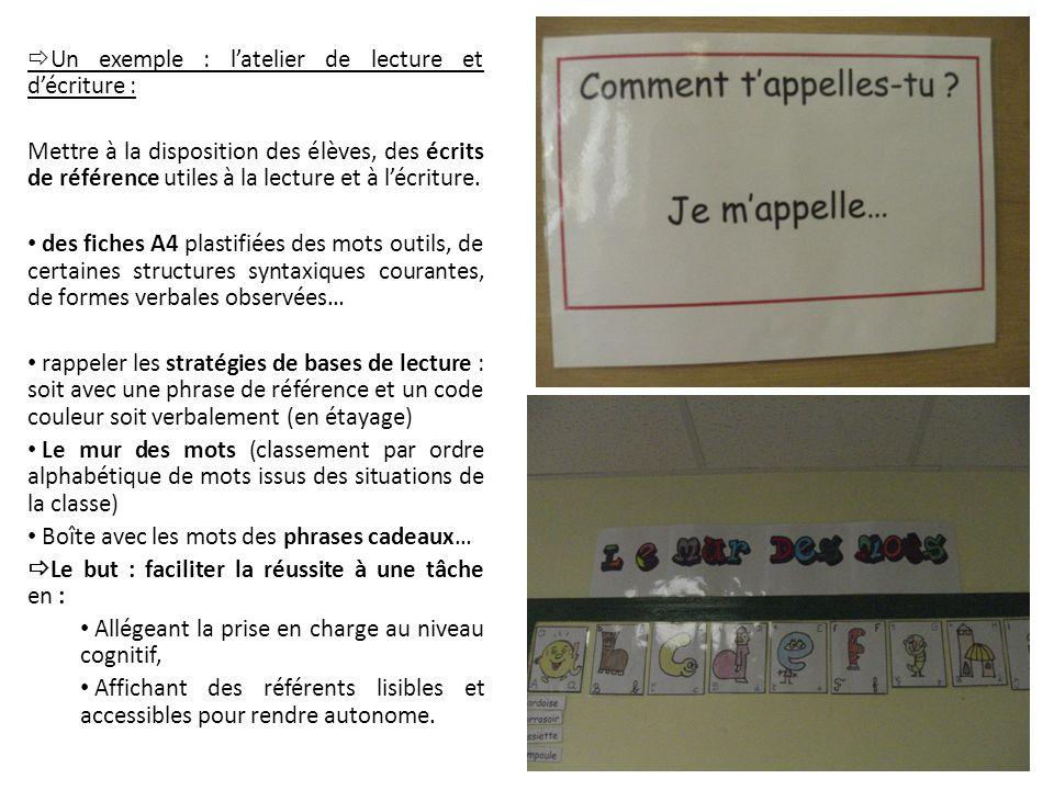Un exemple : l'atelier de lecture et d'écriture :