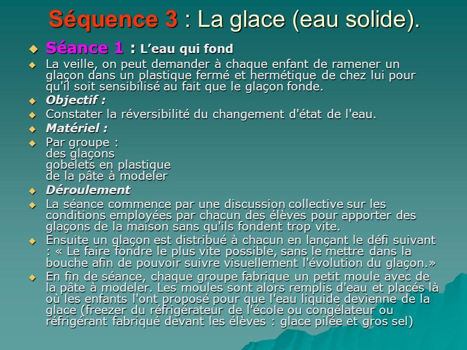 Séquence 3 : La glace (eau solide).