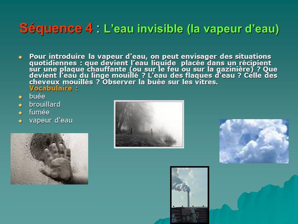 Séquence 4 : L'eau invisible (la vapeur d'eau)