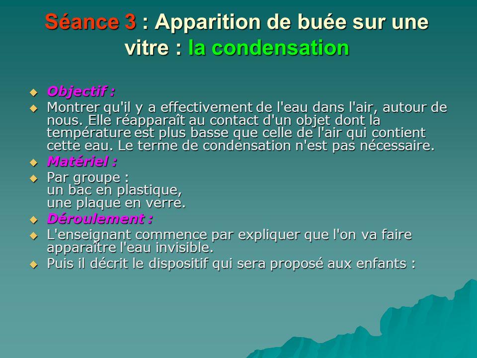 Séance 3 : Apparition de buée sur une vitre : la condensation