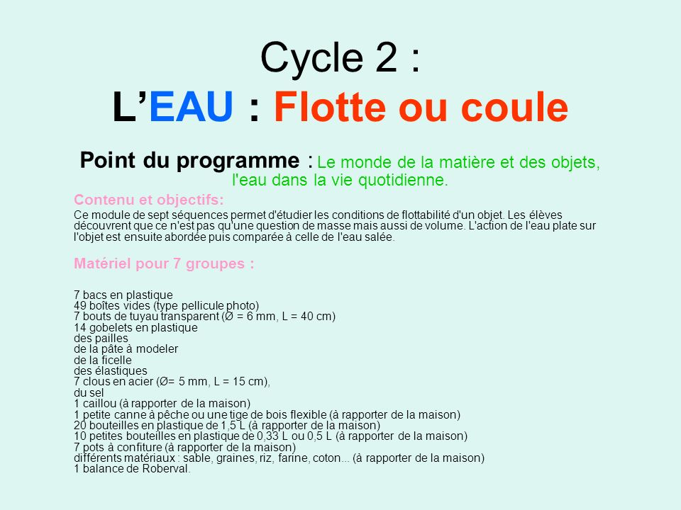 Cycle 2 : L'EAU : Flotte ou coule