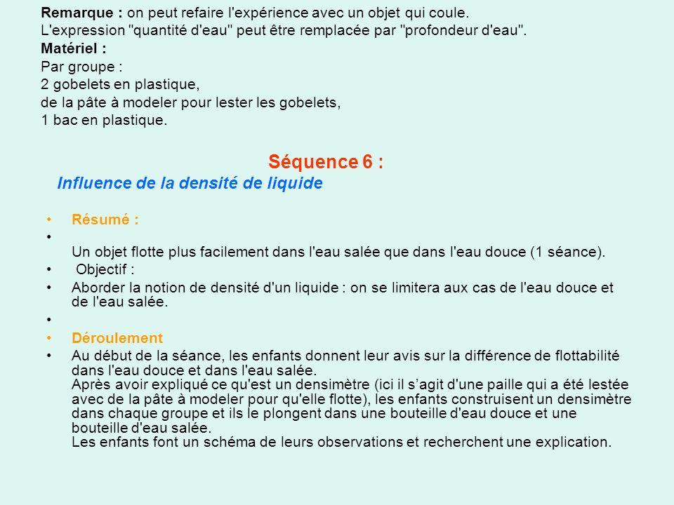 Séquence 6 : Influence de la densité de liquide