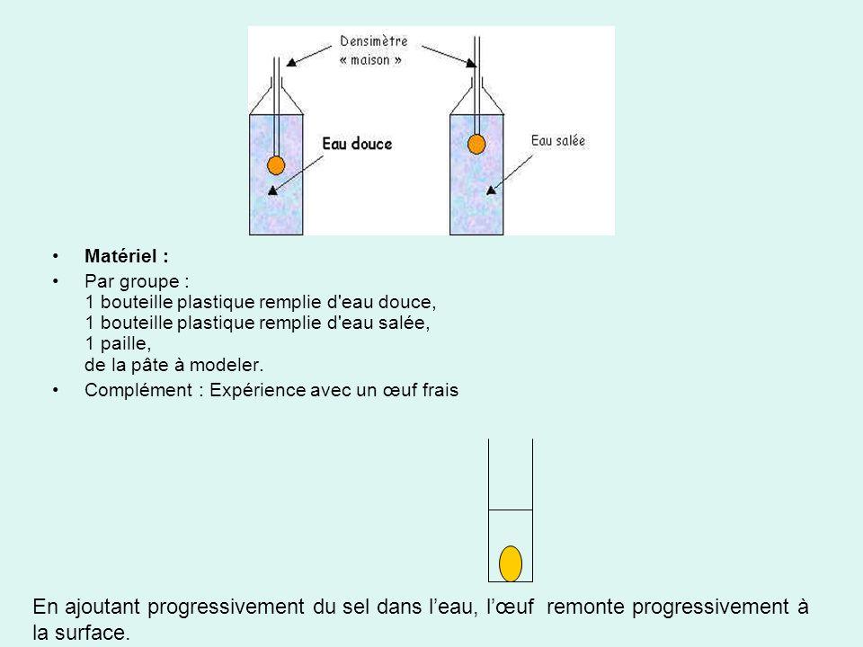 Matériel : Par groupe : 1 bouteille plastique remplie d eau douce, 1 bouteille plastique remplie d eau salée, 1 paille, de la pâte à modeler.