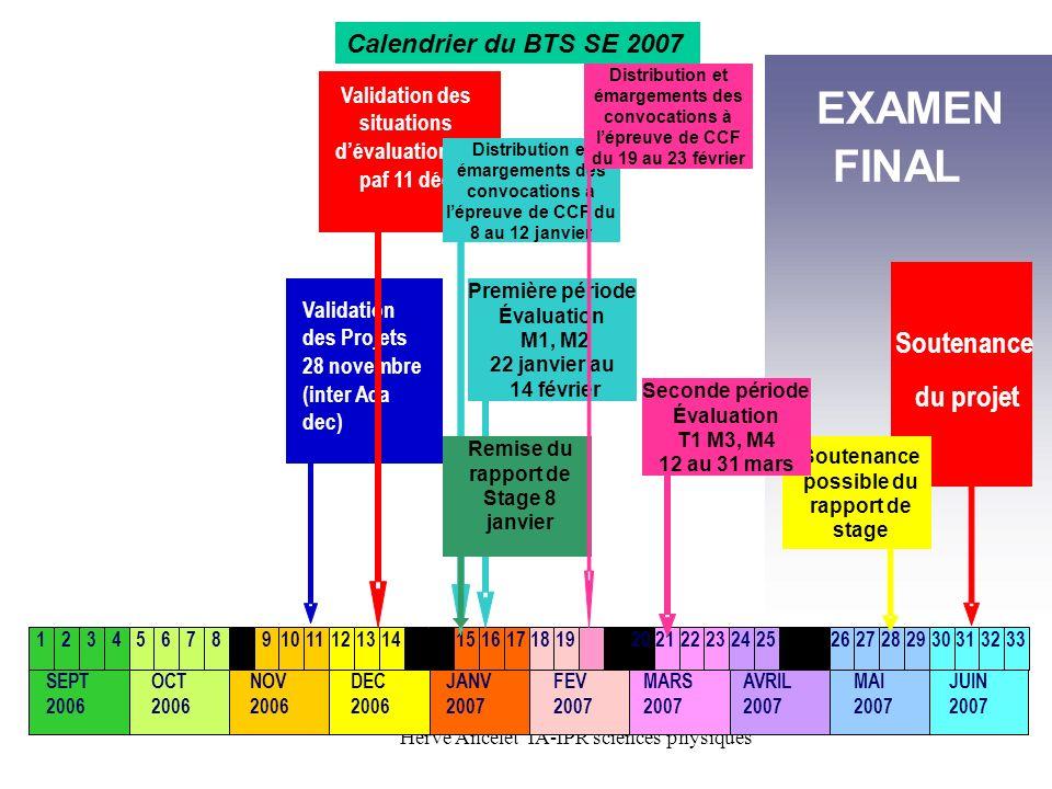 EXAMEN FINAL Soutenance du projet Calendrier du BTS SE 2007