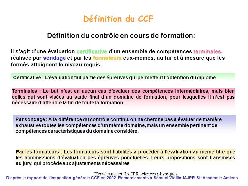 Définition du contrôle en cours de formation: