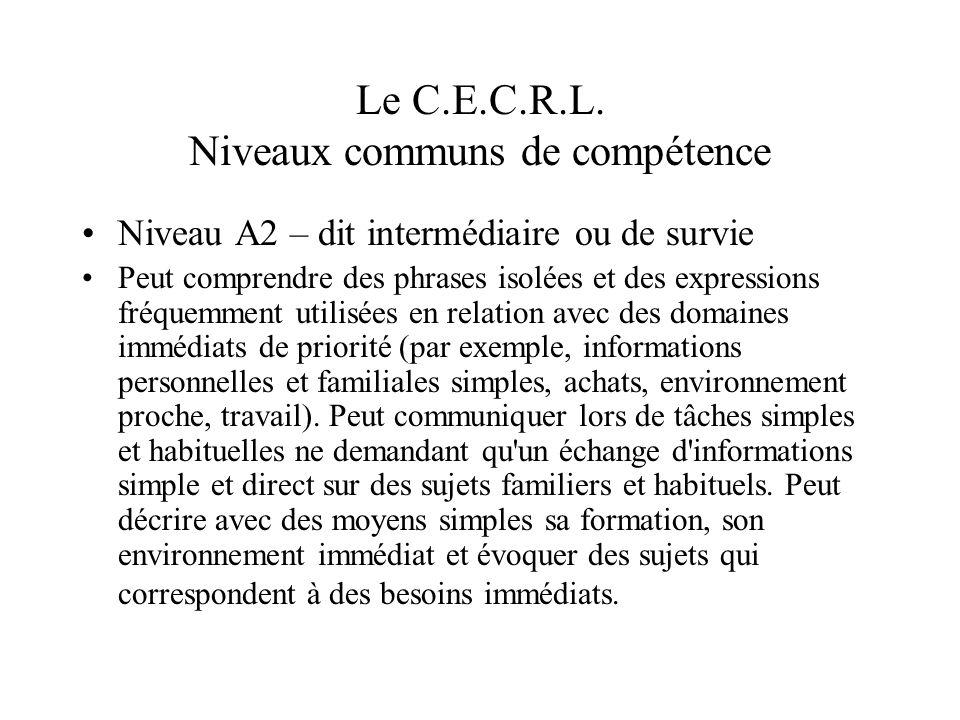 Le C.E.C.R.L. Niveaux communs de compétence