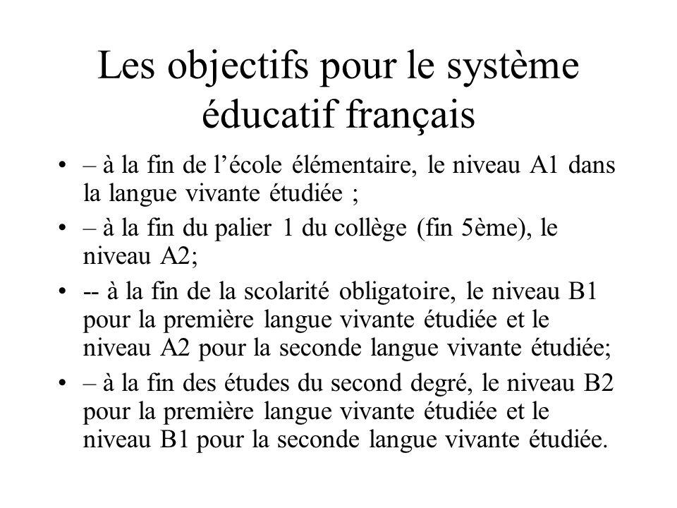 Les objectifs pour le système éducatif français