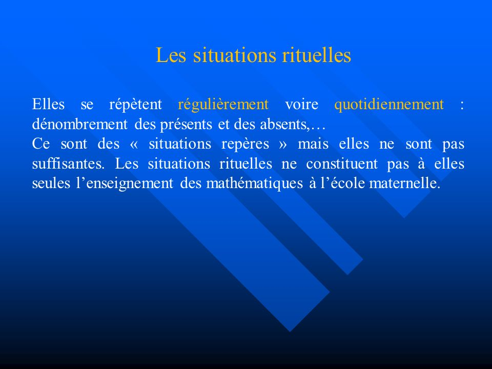 Les situations rituelles