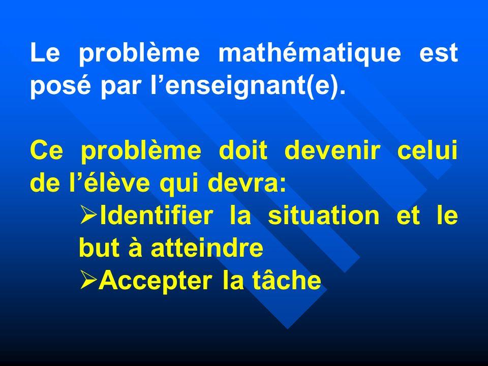 Le problème mathématique est posé par l'enseignant(e).