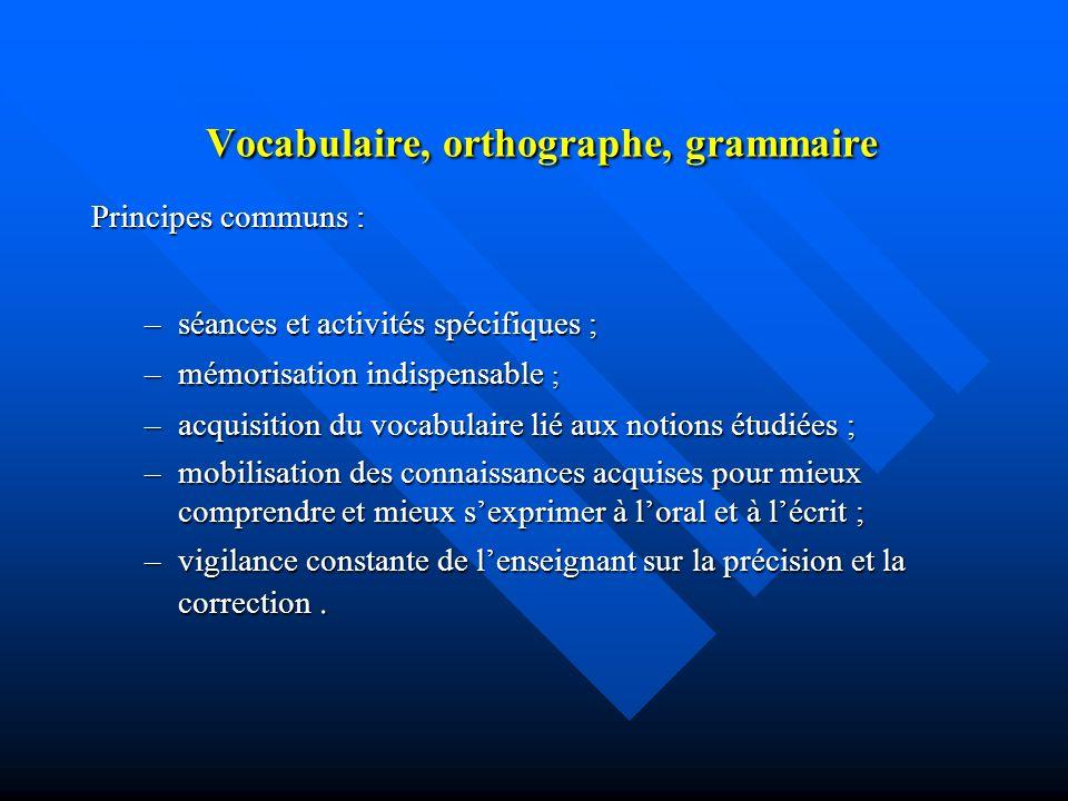 Vocabulaire, orthographe, grammaire