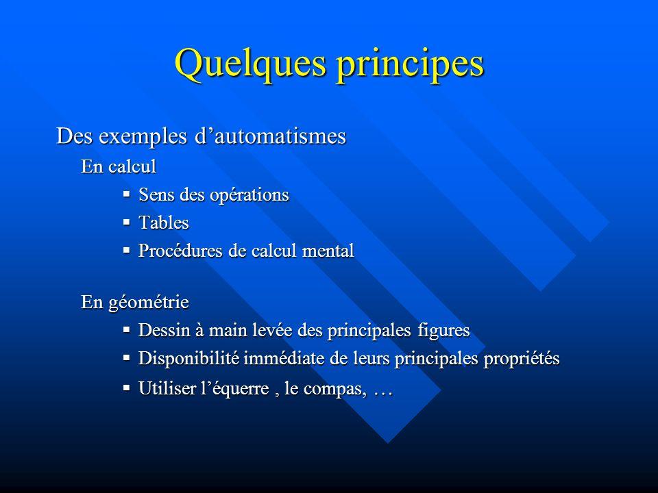 Quelques principes Des exemples d'automatismes En calcul En géométrie