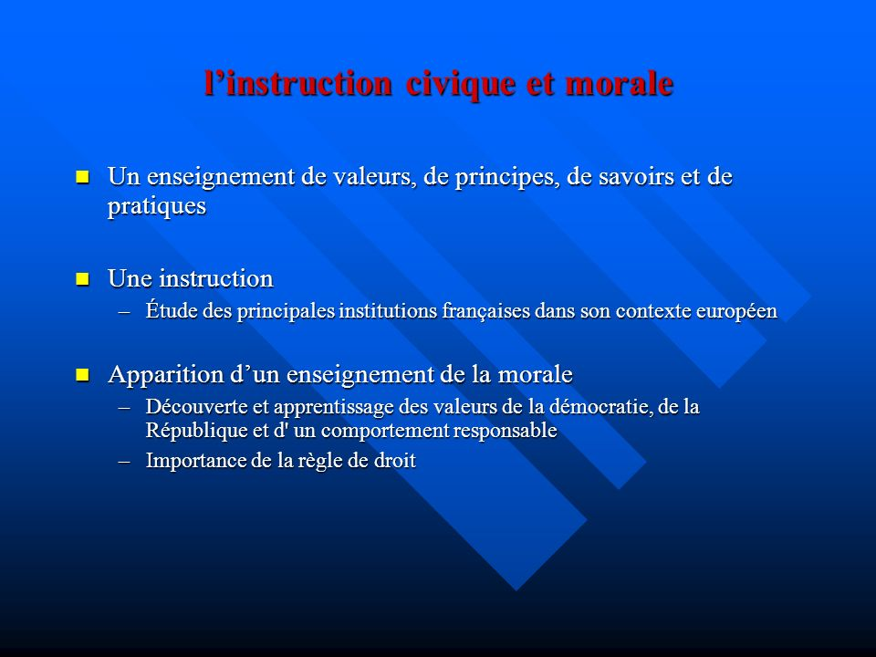 l'instruction civique et morale
