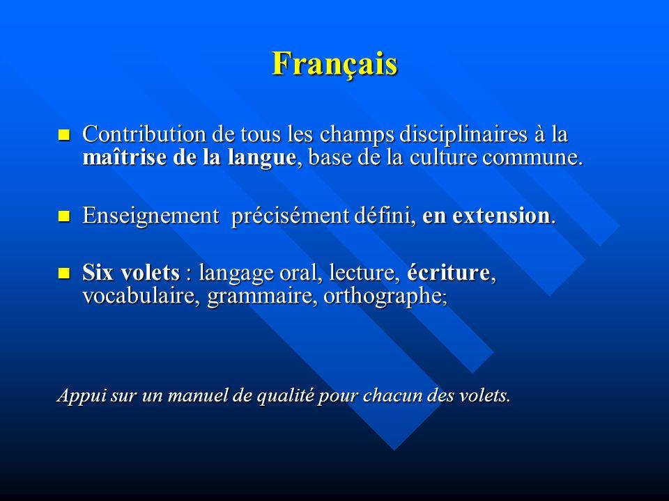 Français Contribution de tous les champs disciplinaires à la maîtrise de la langue, base de la culture commune.