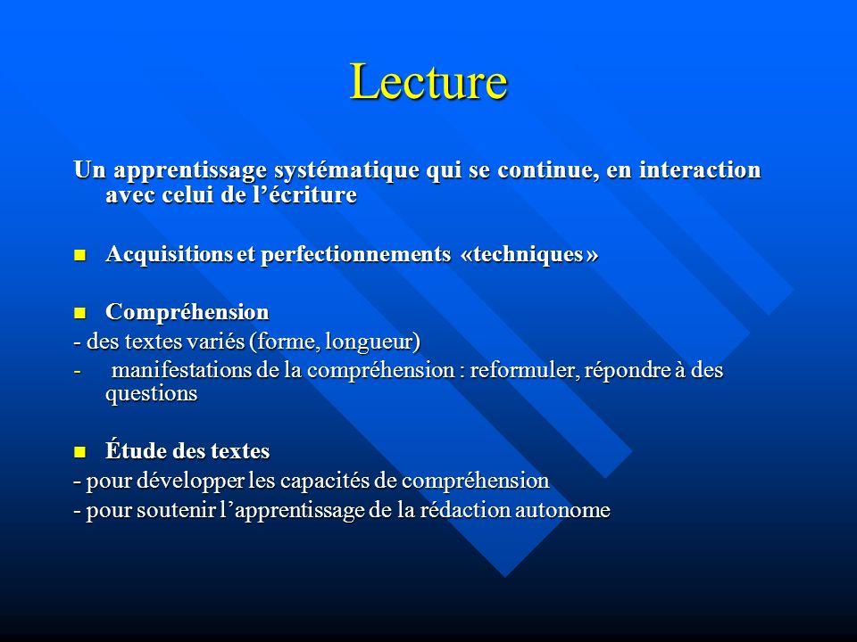 Lecture Un apprentissage systématique qui se continue, en interaction avec celui de l'écriture. Acquisitions et perfectionnements «techniques »