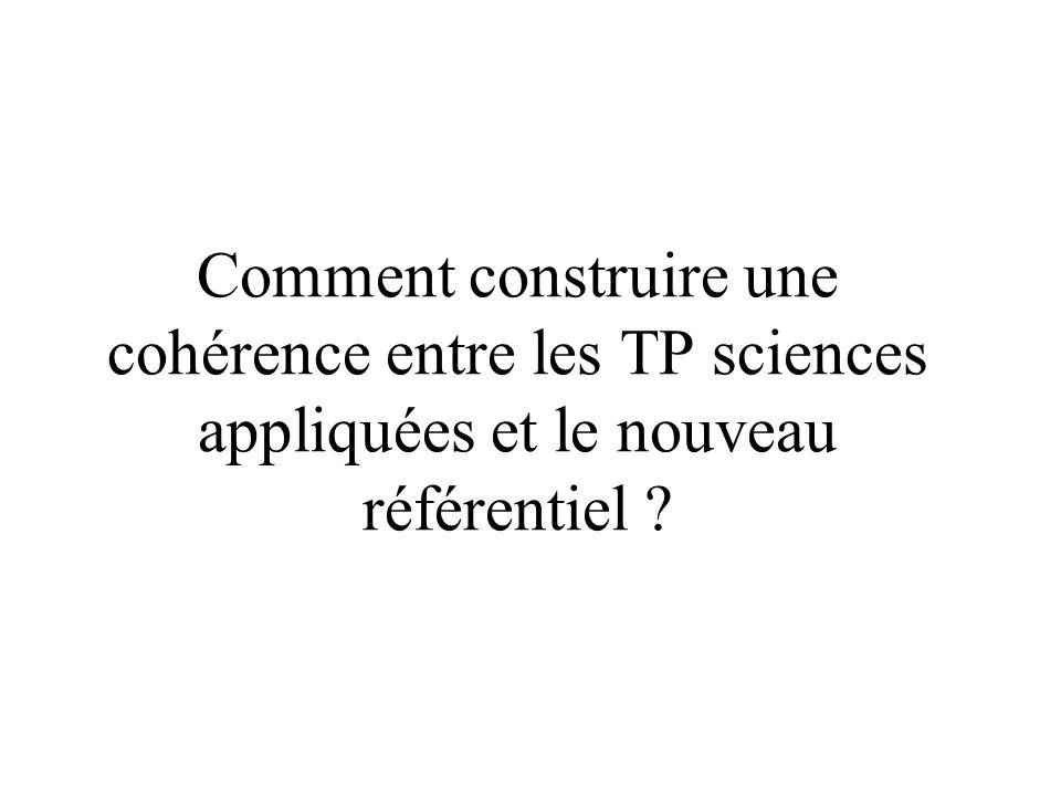 Comment construire une cohérence entre les TP sciences appliquées et le nouveau référentiel
